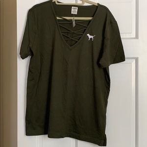 PINK olive green lace up T-shirt. NWT. Medium